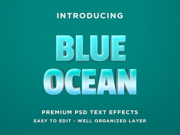 Oceano azul - efeito de texto 3d