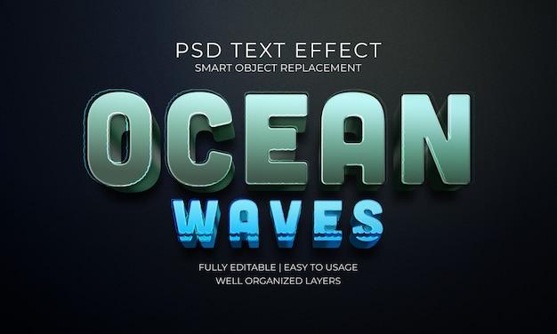 Oceano onde o efeito do texto