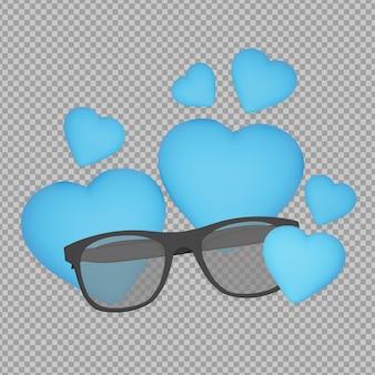 Óculos 3d com renderização do conceito do dia dos pais isolado