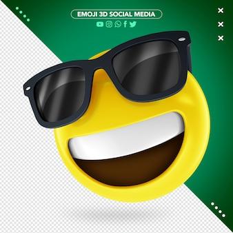 Óculos de sol emoji 3d e um sorriso mostrando os dentes superiores