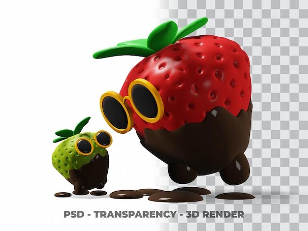 Óculos fofos 3d chocolate morango com fundo transparente