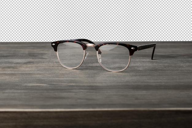 Óculos vintage em uma superfície de madeira