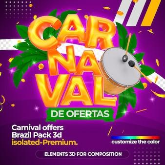 Oferece logotipo de carnaval em renderização 3d
