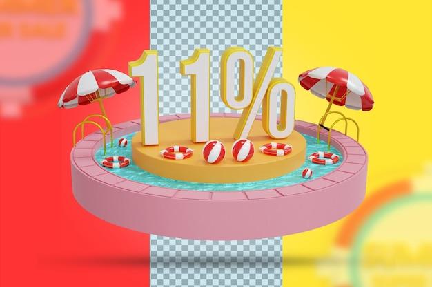 Oferta de 11% de desconto de verão em renderização em 3d