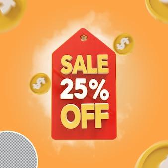 Oferta de 25 por cento de venda 3d