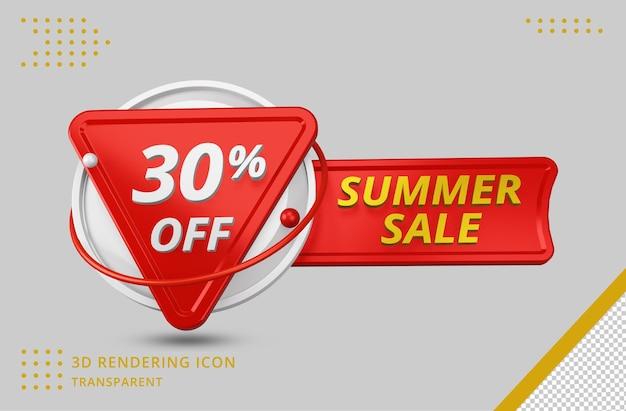 Oferta de 30% de desconto de verão 3d em renderização 3d isolada