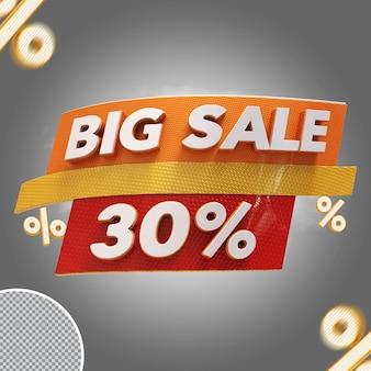 Oferta de 30% de grande venda em 3d