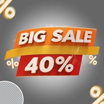 Oferta de 40% de grande venda em 3d