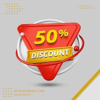 Oferta de 50 por cento de desconto de verão em 3d em renderização em 3d isolada