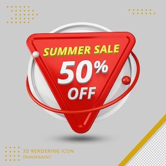 Oferta de 50 por cento de desconto de verão em 3d em renderização em 3d