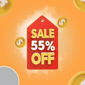 Oferta de 55 por cento de venda 3d
