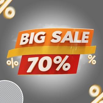 Oferta de 70% de grande venda em 3d
