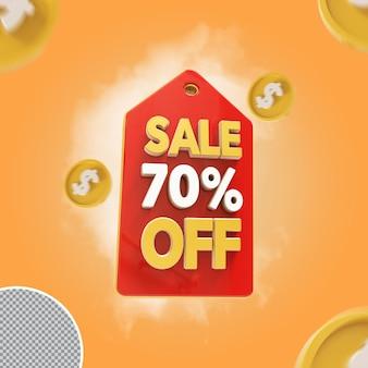 Oferta de 70 por cento de venda 3d
