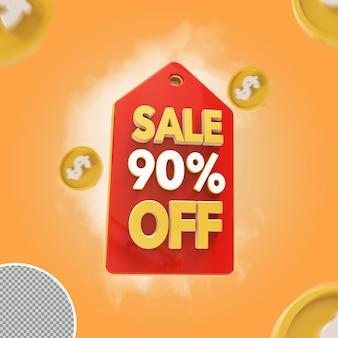 Oferta de 90 por cento de venda 3d