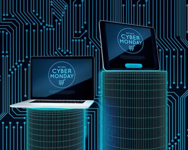 Oferta de cyber segunda-feira para laptop e tablet