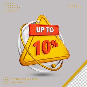 Oferta de desconto de verão 3d de 10 por cento em renderização 3d isolada