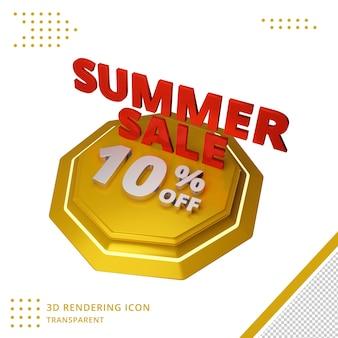 Oferta de desconto de verão 3d de 10 por cento em renderização 3d