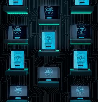 Oferta de dispositivos eletrônicos cyber segunda-feira venda