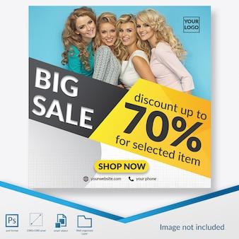 Oferta de grande venda com banner quadrado com desconto especial ou modelo de postagem no instagram