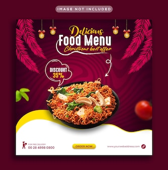 Oferta de natal fastfood mídia social postar modelo de banner da web