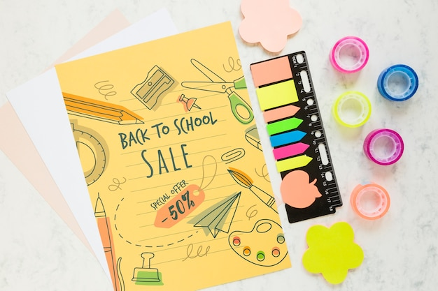 Oferta de venda de material escolar com 50% de desconto