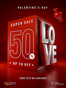 Oferta especial 3d love valentine's day mockup