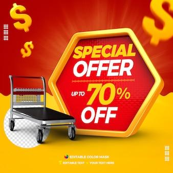 Oferta especial da caixa de texto 3d com carrinho de carga com até 70% de desconto