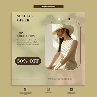 Oferta especial da coleção top de moda instagram post modelo premium de mídia social