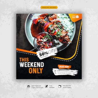 Oferta especial de alimentos promoção de mídia social