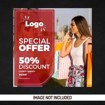 Oferta especial de cartazes de mídia social