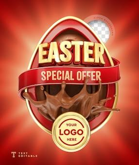 Oferta especial de páscoa render 3d chocolate