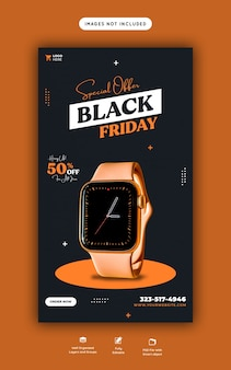 Oferta especial do instagram black friday e modelo de banner de história do facebook