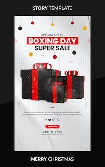 Oferta especial do instagram de super venda do boxing day e modelo de história de mídia social