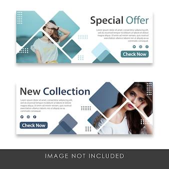 Oferta especial e novos modelos de banner de coleção