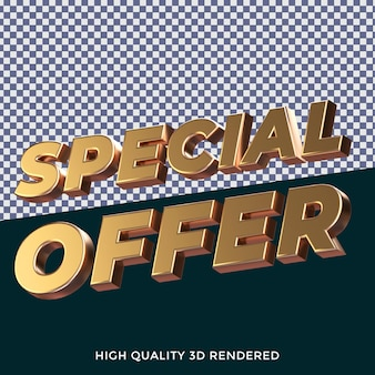 Oferta especial estilo de texto isolado renderizado em 3d com textura metálica dourada realista
