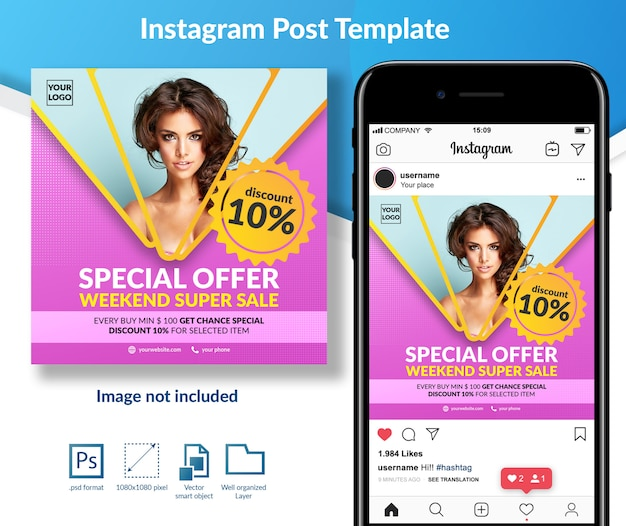 Oferta especial fashion sale social media post template