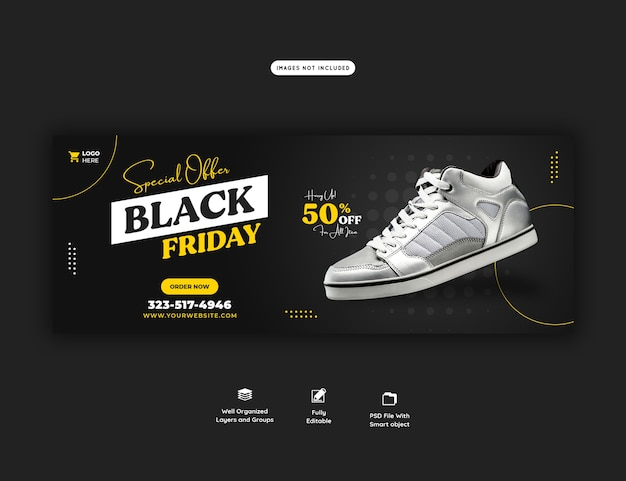 Oferta especial modelo de banner de capa do facebook black friday