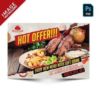 Oferta especial promoção alimentar especial