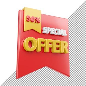 Oferta especial venda distintivo renderização 3d isolada
