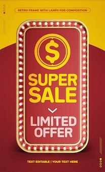 Oferta limitada de quadro retro led vermelho vertical super sale