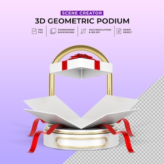 Oferta surpresa oferta de caixa de presente display promocional de produto em pódio realista em 3d