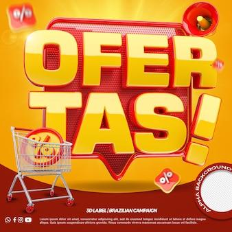 Ofertas 3d render com carrinho de compras para campanha de lojas em geral em português