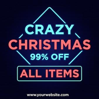 Ofertas de natal loucas 99% de desconto no banner no design de estilo neon