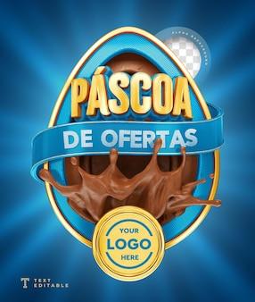 Ofertas de páscoa no brasil 3d render chocolate azul