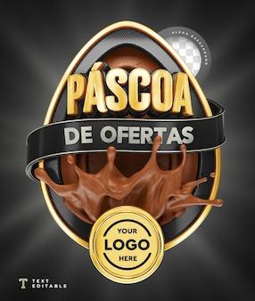 Ofertas de páscoa no brasil 3d render chocolate preto