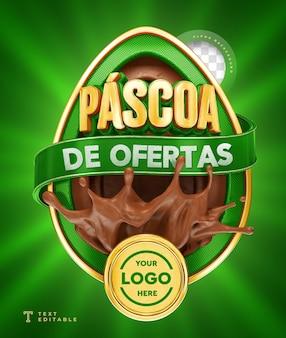 Ofertas de páscoa no brasil 3d render chocolate verde