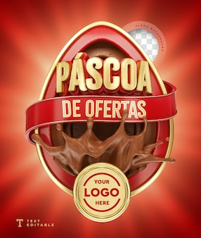 Ofertas de páscoa no brasil 3d render chocolate vermelho