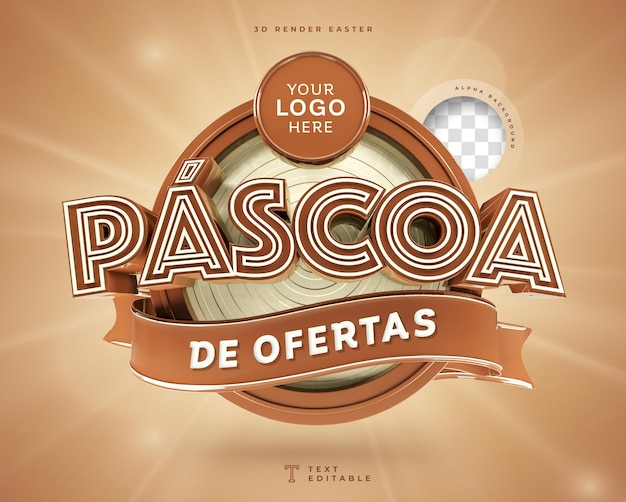 Ofertas de páscoa no brasil 3d render chocolate