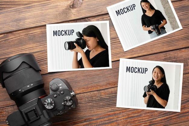 Oficina de fotógrafo com maquete de fotos