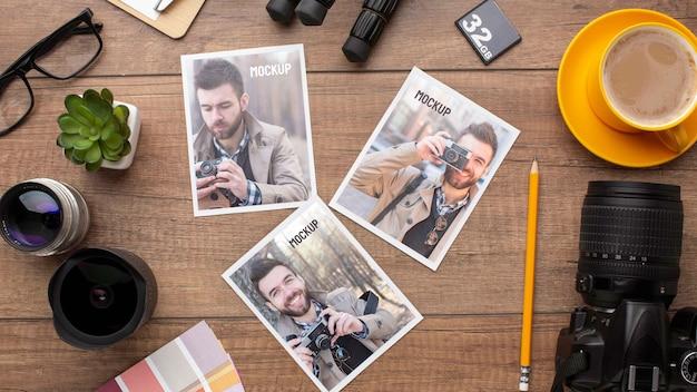Oficina de fotógrafo com variedade de modelos de fotos